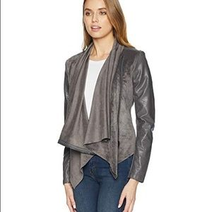 NWT Grey Drape Front Suede Jacket